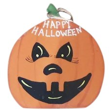 Folk Art Wood Hanging Pumpkin for Holiday Season