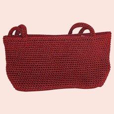 The Sak Red Crochet Evening Purse Bag