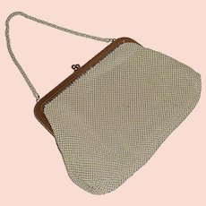 1960s Metal Beige Whiting and Davis Hand Bag