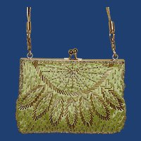 Lime Green Gold Tone Trim Evening Bag Purse
