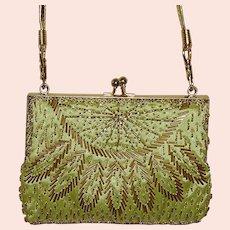 Lime Green Gold Tone Trim Evening Bag Purse