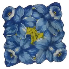 Big Bold Beautiful Blue Daffodils Handkerchief Hankie