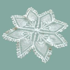 Large Hand Crocheted Ecru Doily