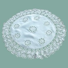 Unusual Large Insert Crocheted Linen Doily
