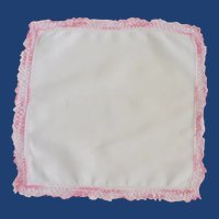 White with Pink Crochet Edge Handkerchief Hankie