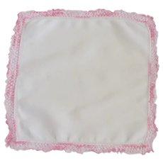 White with Pink Crochet Edge Handkerchief Hankie