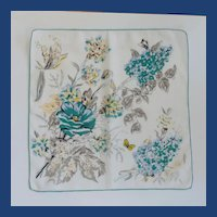 White & Teal Flowers Handkerchief Hankie