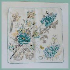 White & Teal Flowers Handkerchief Hankie