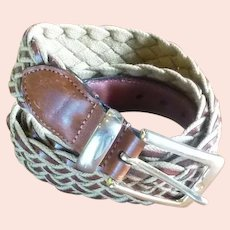 Leather Braided Belt with Brass Buckle
