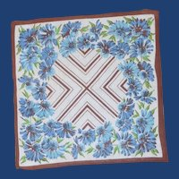 Blue Daisy Flowers with Brown Trim Handkerchief Hanky