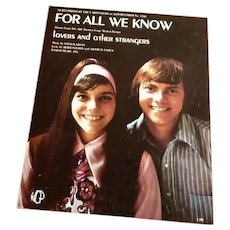 For All We Know -Recorded by The Carpenters Sheet Music