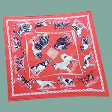 Red Kerchief Scarf Cotton Bandanna with Dogs