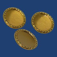 Three Gold Tone Disc Buttons with Decorative Edge