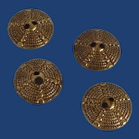 4 Gold Tone Domed Buttons