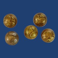 5 Gold Colored Metal Round Buttons