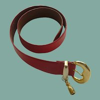 Red Belt with Gold Tone Buckle and Tassel
