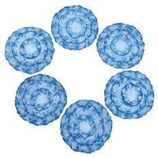 Six Blue Asian Theme Round Embroidery Place Mat Set