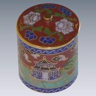 Miniature Asian Cloisonné Cylinder Box Container