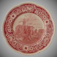 Royal Cauldon Historical Society Plate Pink Transfer Ware