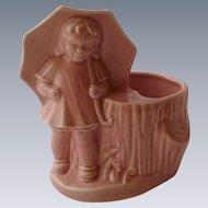 Pink Morton Salt Girl Pottery Planter 1950's