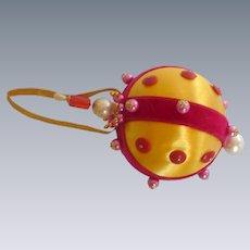 Beaded 1970's Satin Christmas Ornament Ball
