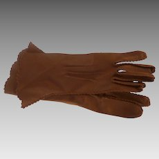 Brown Nylon 1950's Women's Vintage Gloves