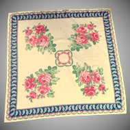 Beautiful Off White with Pink Red Rose Scarf / Shawl