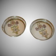 Porcelain Purple Iris Flower Coaster Set of 2