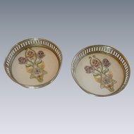 Porcelain Purple Iris Flower Coaster Set of 2