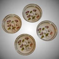 Porcelain Purple Flower Coaster Set of 4
