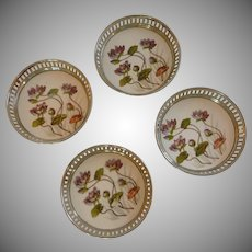 Porcelain Purple Flower Coaster Set of 4