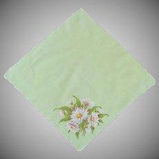 Sherbet Green Hand Painted Daisy Handkerchief Hanky