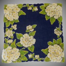 Navy Blue and Large Yellow White Peonies Handkerchief Hanky