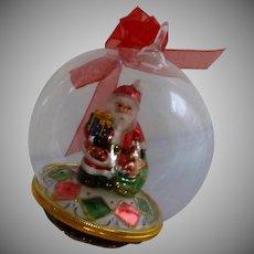 Clear Glass Hand Blown Santa Claus Christmas Ornament