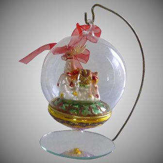 Clear Glass Hand Blown Reindeer  Christmas Ornament