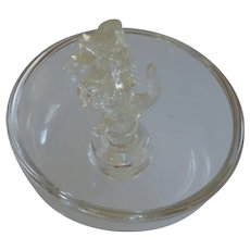 Round Glass Ashtray with Dog Cigarette Snuffer in Middle
