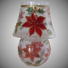 Red poinsettia Glass Tea Light Christmas Lamp