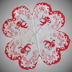 Happy Valentine Heart Shaped Handkerchief Hanky