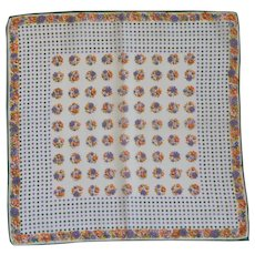 Purple Orange & Gold Flower Polka Dot Handkerchief Hanky