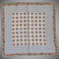 Purple Orange & Gold Flower Polka Dot Handkerchief Hanky