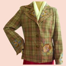 Plaid Wool Blazer Jacket with Embroidered Flowers