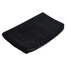 Whiting & Davis 1970's Clutch Black Metal Mesh Bag