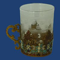 Beautiful Shot Glass & Enameled Metal Holder