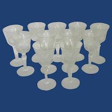 Set of Eleven Sunflower Etched Stemmed Wine / Water Glasses