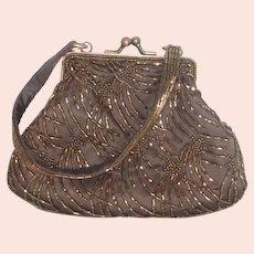 Copper Beaded Cache Small Hand Bag Evening Purse