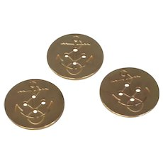 Three Military Brass Flat Nautical Buttons