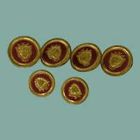 Red and Gold Tone Metal Buttons