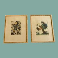 Two Glass Framed Hummel Pictures 1940's