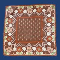 Pretty Brown Salmon Green & Rust Silk Scarf