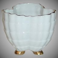 White Small  China Holder with Shell Type Finish